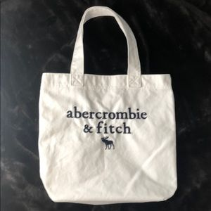 A&F embroidered white canvas shoulder bag tote